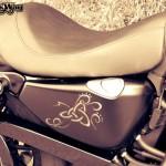 Harley Davidson Sporster Epona, motifs sur le réservoir d'huile