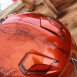 casque lady Rider , déco pinstripping et candy orange tangerine