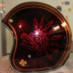casque Aztek, vue de profil, trefle a 4 feuilles realisé en feuille d'or veritable